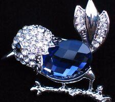NIB CAROLEE RHINESTONES SILVER BLUE CHICKADEE FINCH WREN BIRD PIN BROOCH JEWELRY