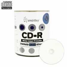 100 Smartbuy CD-R 52X 700MB/80Min White Inkjet Printable Blank Recording Disc