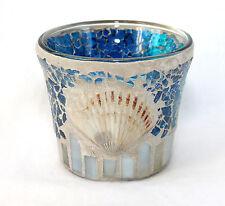 Windlicht aus Glas Mosaik blau 7 x 8 cm mit Muschel
