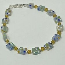 with Yellow Faceted Round Beads Handmade Anklet Millefiori Square Glass Beads