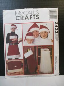 McCall's Pattern 3422 Santa Door/Wallhanging Hat Chair Cover Stocking Apron New