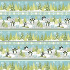 Wilmington Playful Penguins by StellaJean 64101 791 Stripe FLANNEL Cotton Fabric