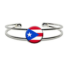 Puerto Rico Puerto Rican Flag - Novelty Silver Plated Metal Cuff Bangle Bracelet