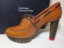 "Hilfiger Collection Solid Brown Leather Platform 4"" High Pumps Stilettos 39 M"