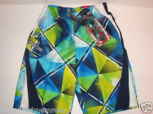 ZeroXposur Board Shorts Swim Trunks & Goggles ~ Size Med (10/12) ~ Iguana Green