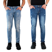 Jeans Uomo Strappati Pantalone Slim Fit Denim Casual Blu Elasticizzato Estivo