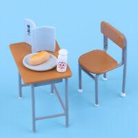 Vintage School Desk Chair Set Furniture Dollhouse Mini Action Figures Decor