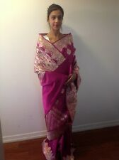 SAREES BENARSI SILK WITH BLOUSE PIECE PINK GREEN RED