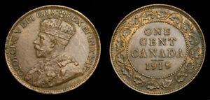 Canada 1919 Large Cent King George V AU-58