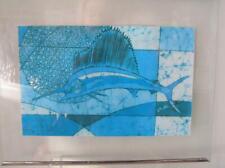 "Luiz Mendes Batik of Rio de Janiero Marlin Swordfish framed 14"" x 11"""