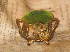 Antique Art Nouveau Pin Cushion- Hat Pin Holder Gold Gilted Floral relief-Footed