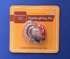 BUY1&GET1@50%~Hallmark PIN Thanksgiving MOC TOM TURKEY Vtg Holiday Brooch #C