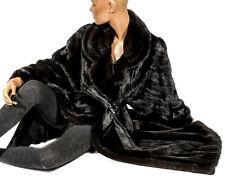 2XXL BLACKGLAMA Mantel schwarz braun Nerzmantel Pelzmantel swing mink coat dark