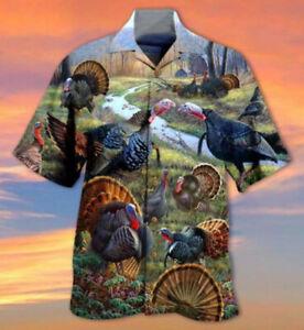 Wild Turkey Short Sleeve Button Hawaiian Shirt All Size
