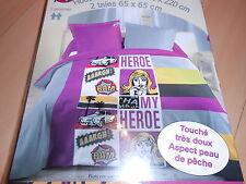 """parure de lit housse de couette + taies 2 personnes """"heroe"""" - neuve"""