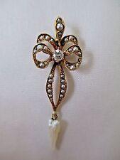 Victorian Diamond Seed Pearl 14K Gold Lavalier Pendant E COLOR Si1 Quality
