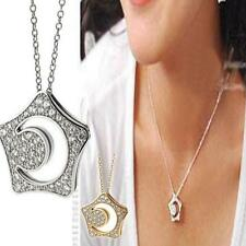 Vogue Boys Over Flowers Kissing Star Hollow Moon Crystal Necklace Pendant TS YW