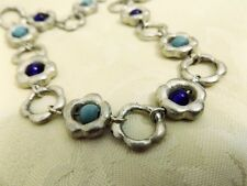 Vintage French designer MARC LABAT Blue glass turquoise Silver plated Necklace