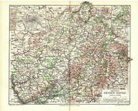 Alte Landkarte: Hessen-Nassau, Original 1905 Bild Druck old map