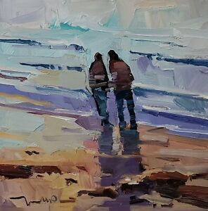 JOSE TRUJILLO Oil Painting IMPRESSIONISM 12X12 BEACH SHORE PEOPLE COUPLE SIGNED