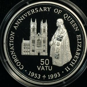 Vanuatu 50 Vatu 1993 Coronation Anniversary 31g SILVER COA (T11)