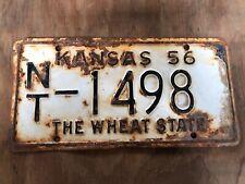 1956 Kansas License Plate 1498 Norton County Original The Wheat State Plates 56