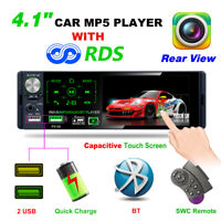 "Single 1 DIN 4.1"" Bluetooth Car Stereo Radio RDS AM FM USB TF AUX MP5 Player"