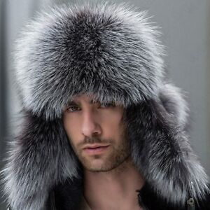 New Russian Bomber Leather Hat Men Winter Hats with Earmuffs Trapper Earflap Cap