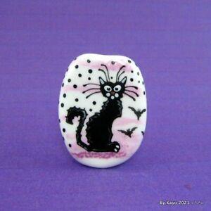 """THE SUMMONING"" a handmade lampwork glass BLACK CAT focal bead byKayo SRA"