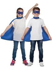 Per Bambini Super Eroe Blu Cape & Maschera Occhi Costume Halloween Libro Settimana Bambini