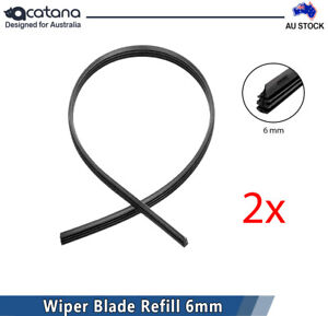 Wiper Blade Refill Pair for Volkswagen Polo 2006 Windshield Strip 6 mm Rubber