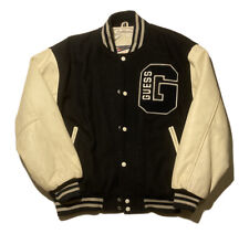 Vintage 80s 90s GUESS Georges Marciano Leather Varsity Letterman Jacket Sz S