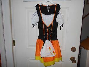 Leg Avenue Bar Maid/Wench  Halloween Costume Mini DressOrange&Black Sz S/M EUC