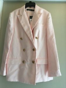 Ralph Lauren double breasted linen blend pink jacket blazer 10 NEW w/tag