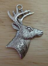 "Silver 60x40mm 2.25"" Pewter Large Buck Deer Hunting Pendant Charm"