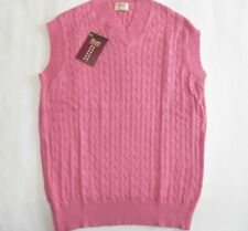 "William Lockie V neck 3 ply cotton cable & rib sleeveless sweater vest 40"" pink"