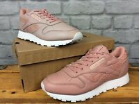 REEBOK LADIES UK 5 EU 38 PINK LEATHER REPTILE PRINT CLASSIC TRAINERS