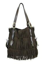 TOD'S BROWN SUEDE G-BAG FRINGE MEDIA LEATHER TRIM CONVERTIBLE TOTE/CROSSBODY