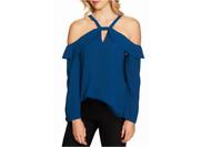 CeCe Women's Blue Ruffle Keyhole Cold-Shoulder Long sleeve Blouse NWT Size XL