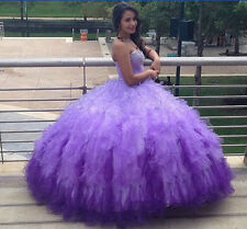 Pretty Purple Quinceanera Dresses Ball Gowns Ruffles Sweetheart Prom Dresses