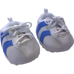 16 inch White & Blue Tennis Shoes Trainers - teddy bear stuffed animal footwear