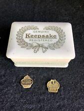 VINTAGE ANTIQUE GENUINE REGISTERED WHITE KEEPSAKE CELLULOID RING BOX/CASE Tags