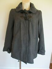 NEW LOOK MATERNITY STYLISH GREY WOOL BLEND SWING DUFFLE JACKET COAT SIZE 12