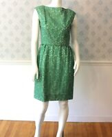 Vintage 1950s to 1960s Sheer Green Chiffon Floral Short Dress