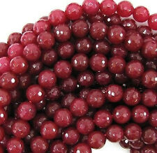 AAA 8mm Natural Faceted Brazil Red Ruby Gemstone Round Loose Beads 15""