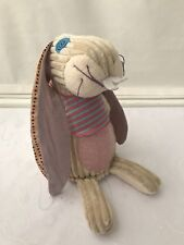 Deglingos Lapinos The Bunny Soft Toy Plush Patchwork Rabbit Ribbed Velvet Pink