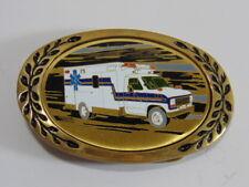 Vintage Collectible Ambulance EMT Brass & Enamel Belt Buckle by Heritage