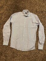 Hugo Boss mens slim fit blue/white/gray stripe dress shirt size 16 36/37