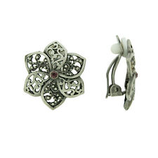 BRAND NEW VINTAGE INSPIRED ANTIQUE SILVER PLATED FLOWER CLIP-ON EARRINGS