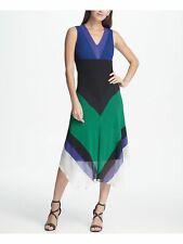 DKNY $129 Womens New Black Color Block V Neck Sleeveless Chiffon Dress 14 B+B